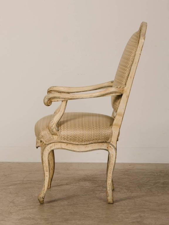 Late 18th Century Pair of Louis XV Period Italian Armchairs, Original Painted Finish, circa 1770 For Sale