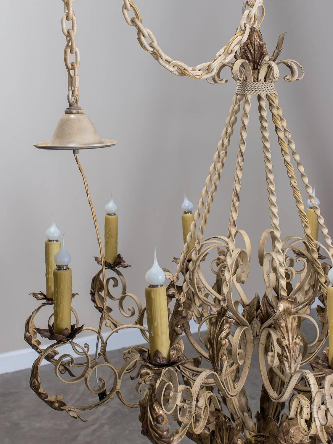 Grand Scale Painted Iron Antique French Ten Light Chandelier Circa 1900 For