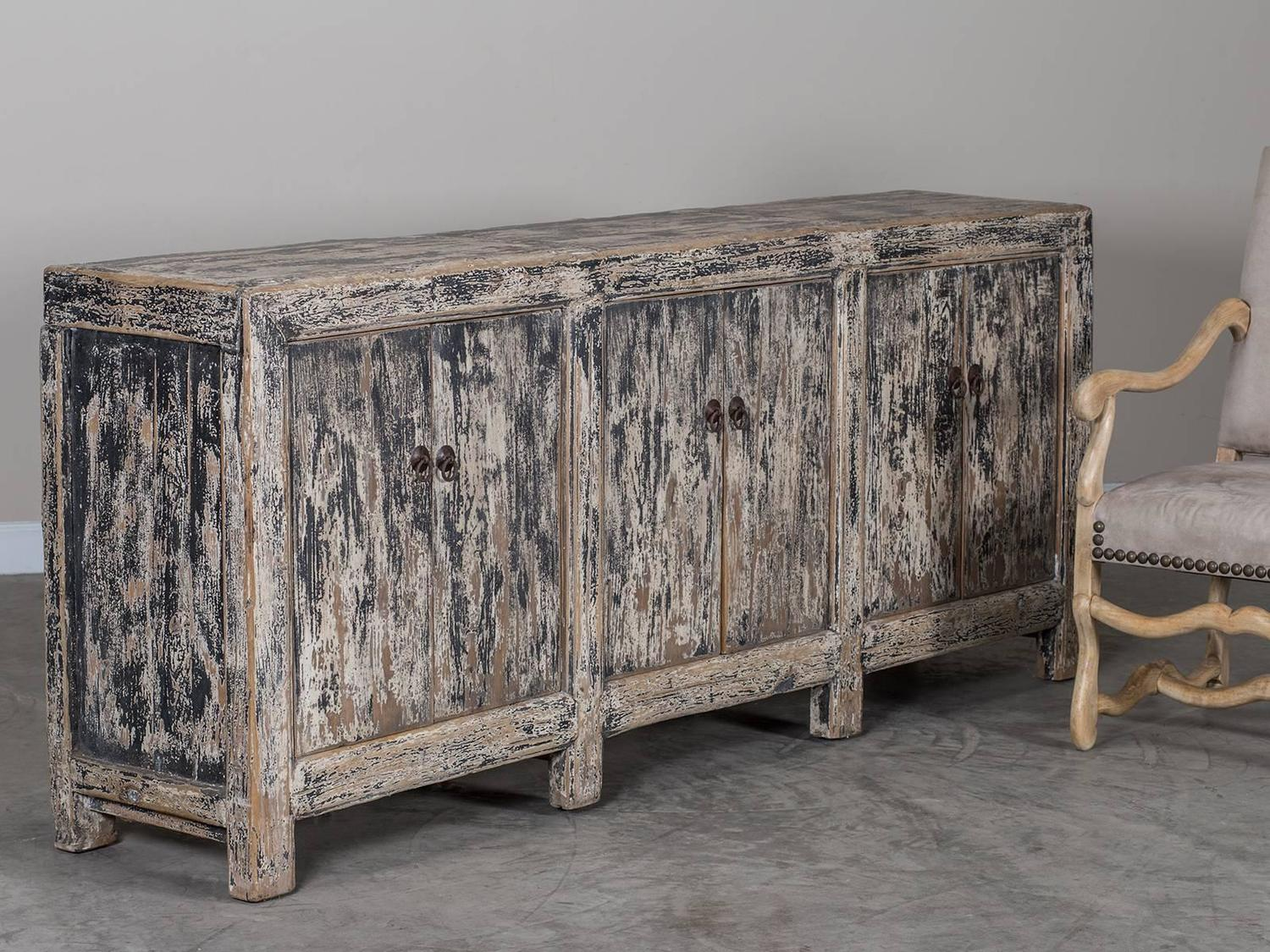 Antique Chinese Weathered Lacquer Buffet Circa 1875 At