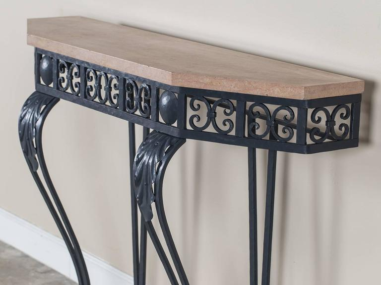Art Deco Period Painted Iron And Marble French Console Table, Circa 1930 In  Excellent Condition