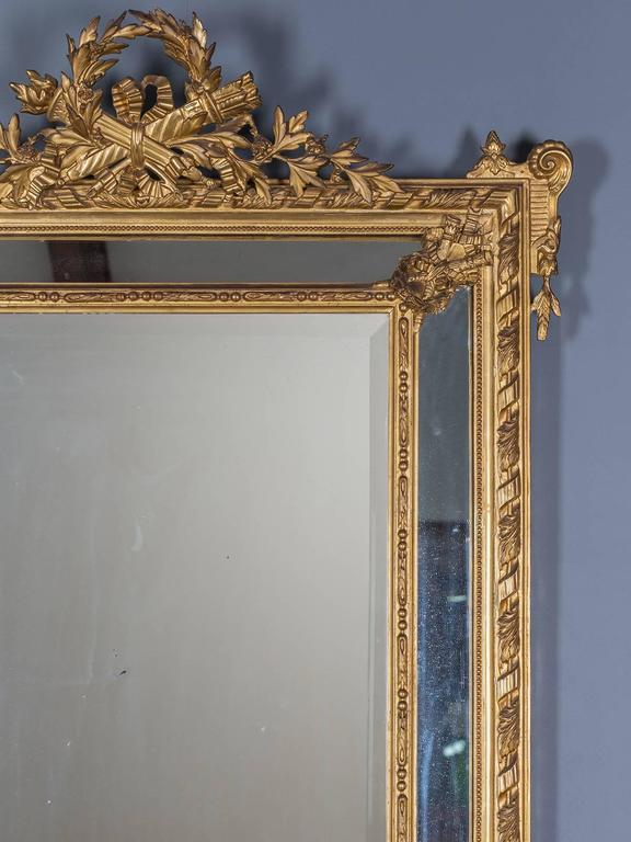 Antique Louis XVI French Giltwood Pareclose Mirror, circa 1890 2