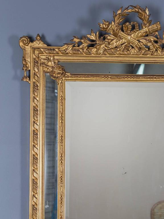 Antique Louis XVI French Giltwood Pareclose Mirror, circa 1890 3