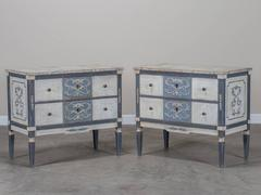 Pair French Neoclassical Painted Pine Two Drawer Chests
