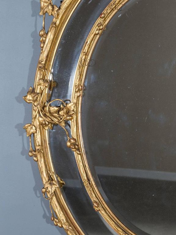Gilt Huge Antique French Wine Estate Oval Mirror, circa 1875 For Sale