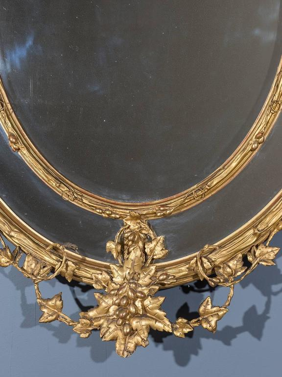 Huge Antique French Wine Estate Oval Mirror, circa 1875 In Excellent Condition For Sale In Houston, TX