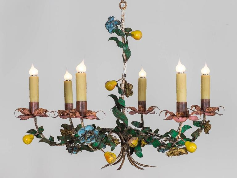 Whimsical Vintage Italian Tole Chandelier, circa 1920 2 - Whimsical Vintage Italian Tole Chandelier, Circa 1920 At 1stdibs