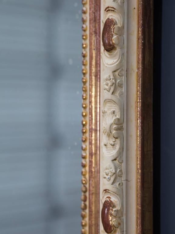 Antique French Louis Philippe Gilded and Painted Mirror, circa 1880 For Sale 1