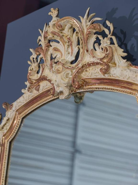 Antique French Louis Philippe Gilded and Painted Mirror, circa 1880 5