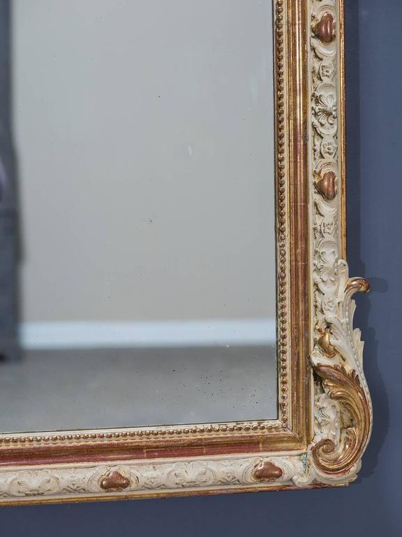 Antique French Louis Philippe Gilded and Painted Mirror, circa 1880 7