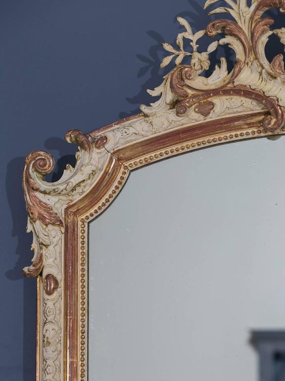 Antique French Louis Philippe Gilded and Painted Mirror, circa 1880 For Sale 4