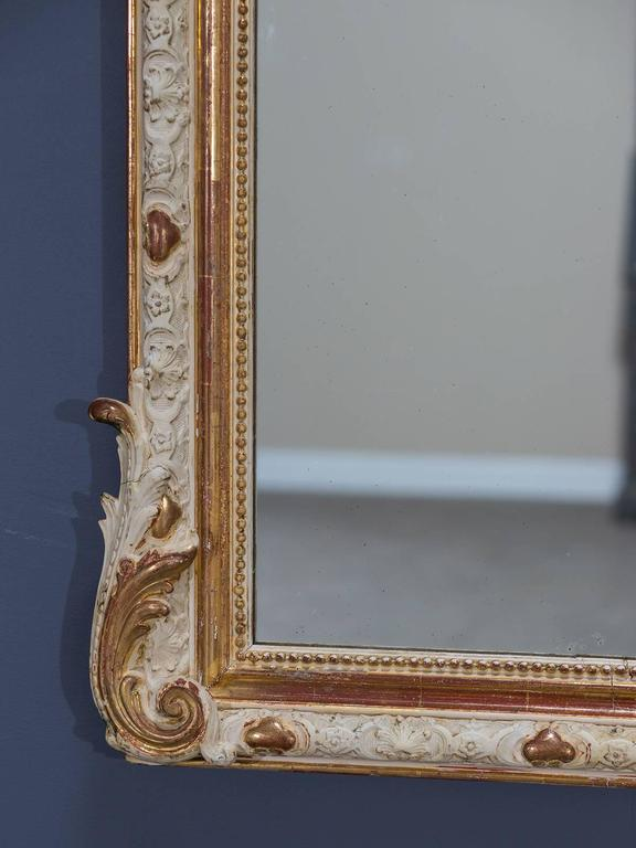 Antique French Louis Philippe Gilded and Painted Mirror, circa 1880 8