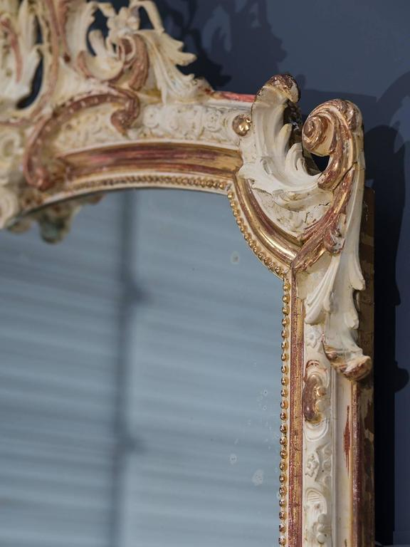 Antique French Louis Philippe Gilded and Painted Mirror, circa 1880 In Excellent Condition For Sale In Houston, TX