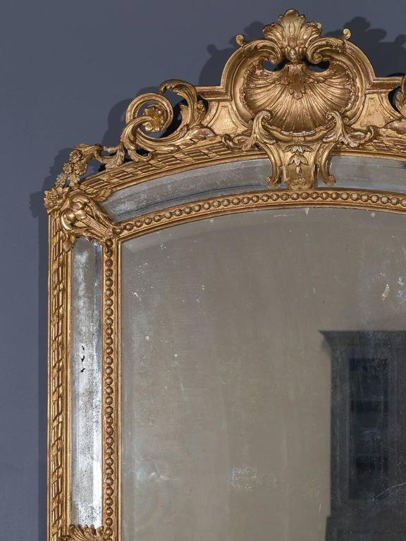 Carved Antique French Louis Philippe Pareclose Mirror, circa 1890 For Sale