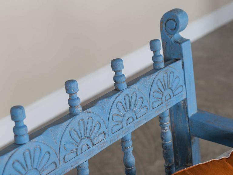 Arts and Crafts Antique French Painted Bench, circa 1890 For Sale