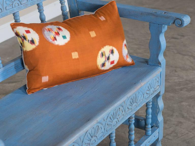Carved Antique French Painted Bench, circa 1890 For Sale