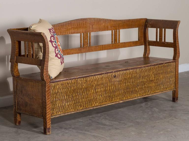 Late 19th Century Romanian Hungarian Antique Painted Storage Bench, circa 1880 For Sale