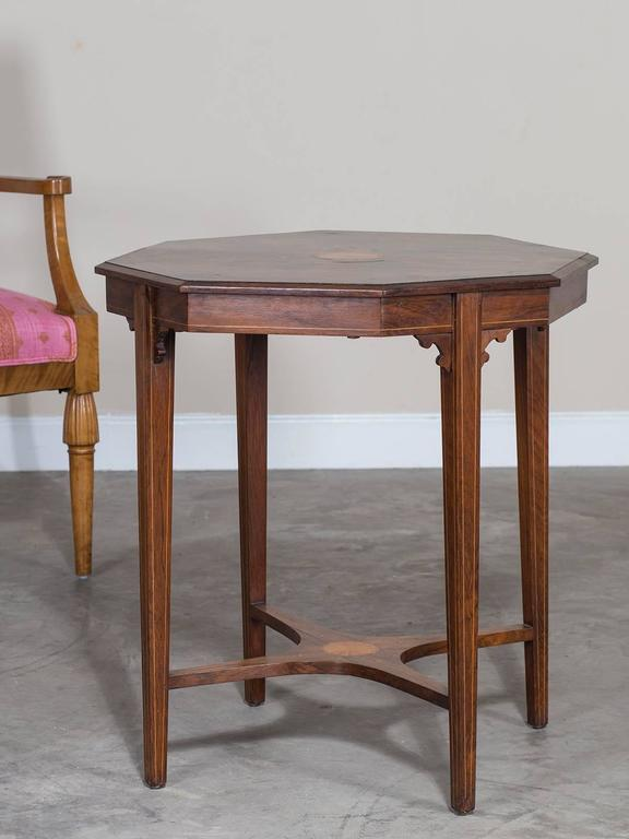 This Unusual Antique English Octagon Side Table Is Made Of Rosewood, Circa  1910 With A