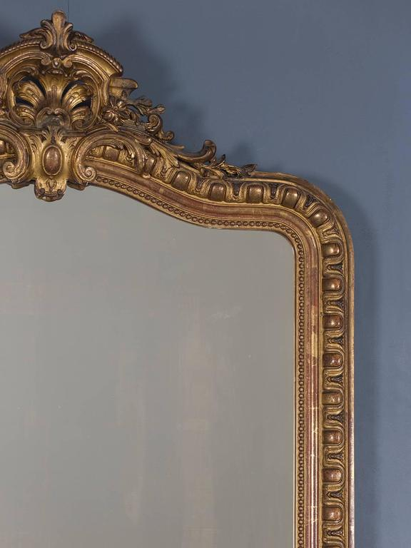 Gold Leaf Antique French Louis Philippe Mirror Cartouche, circa 1880 For Sale
