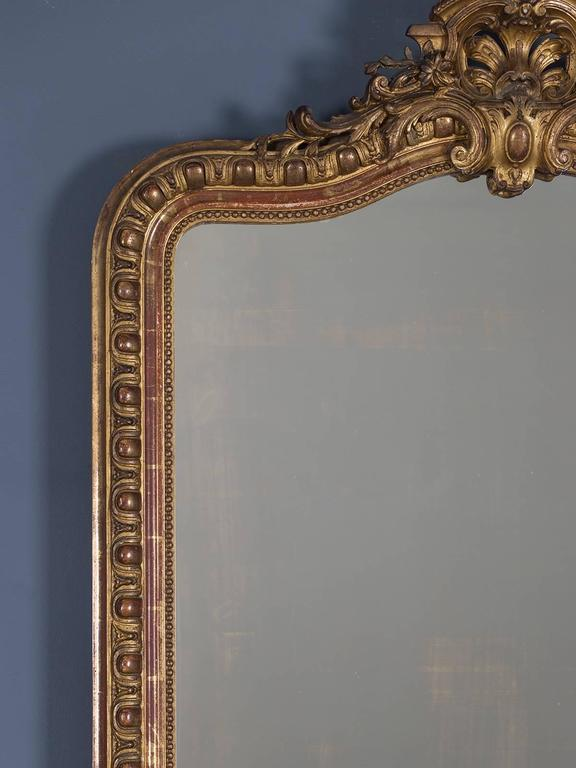 Carved Antique French Louis Philippe Mirror Cartouche, circa 1880 For Sale