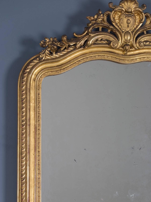 Antique French Gold Leaf Regency Mirror Circa 1880 For