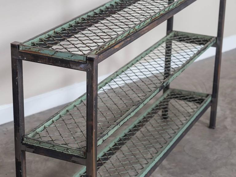 Reclaimed Vintage French Wire Shelves Circa 1930 Mounted