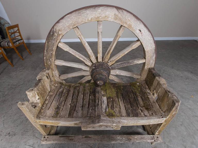 French Wagon Wheel Large Garden Bench Circa 1880 At 1stdibs