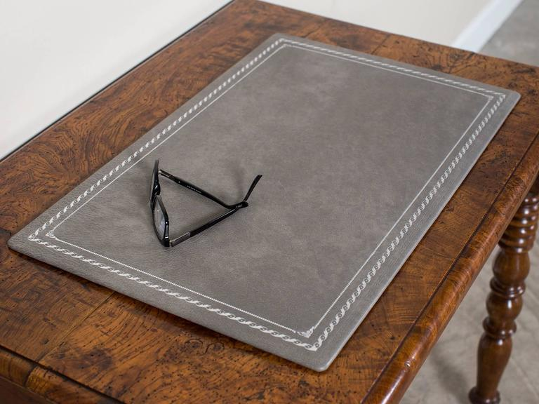 Custom Grey Leather Desk Pad Blotter Hungary, Circa 2015. White Writers Desk. Nice Folding Table. Reclaimed Wood Drawers. Hafele Drawer Pulls. Marble Dining Tables. Desk Organizer Box. Desk Top Toys. Pool Table Felt Installation