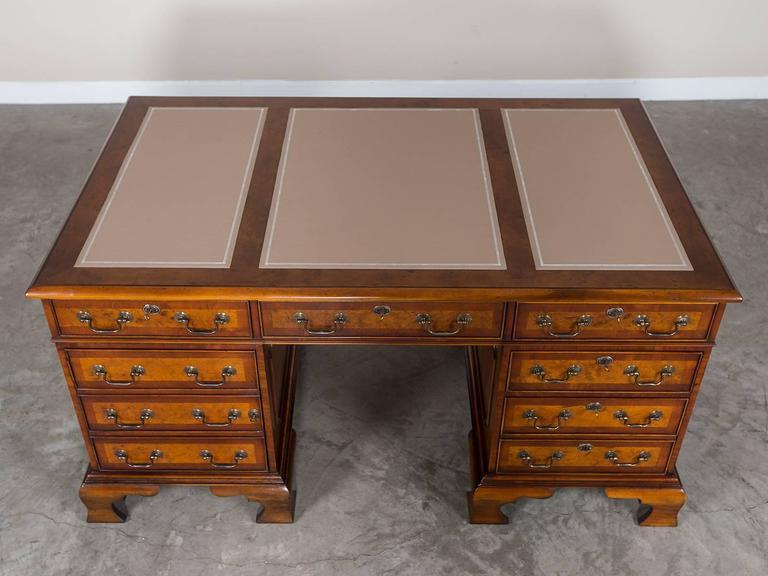 George iii style burl walnut partners desk handmade in for New england style desk