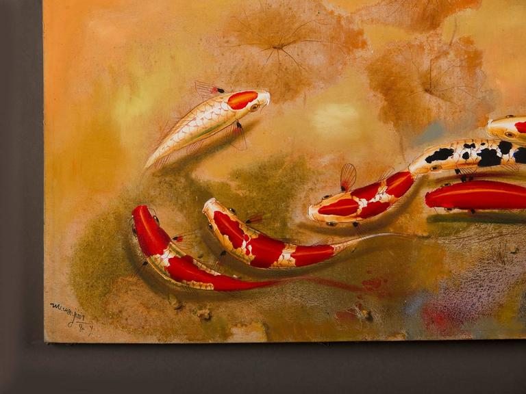 Koi fish painting contemporary china signed lower left for Chinese koi fish for sale