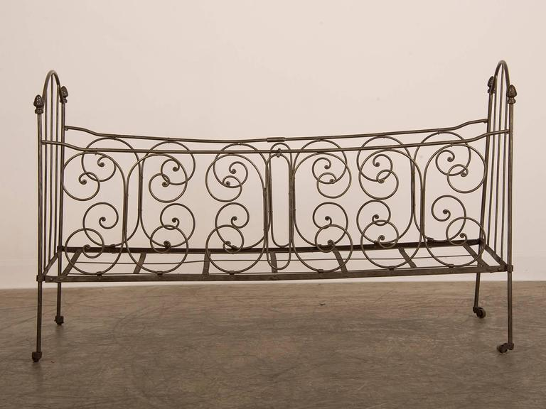 Antique French Iron Campaign Folding Bed Circa 1875 For