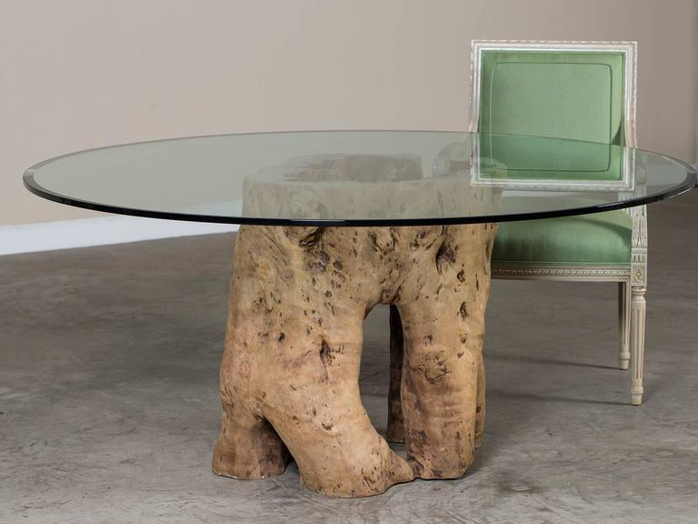 Live Edge Natural Teak Tree Trunk Table With Round Glass