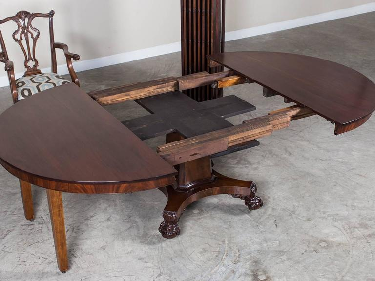 Antique American Empire Mahogany Pedestal Dining Table Circa 1825 For Sale 1