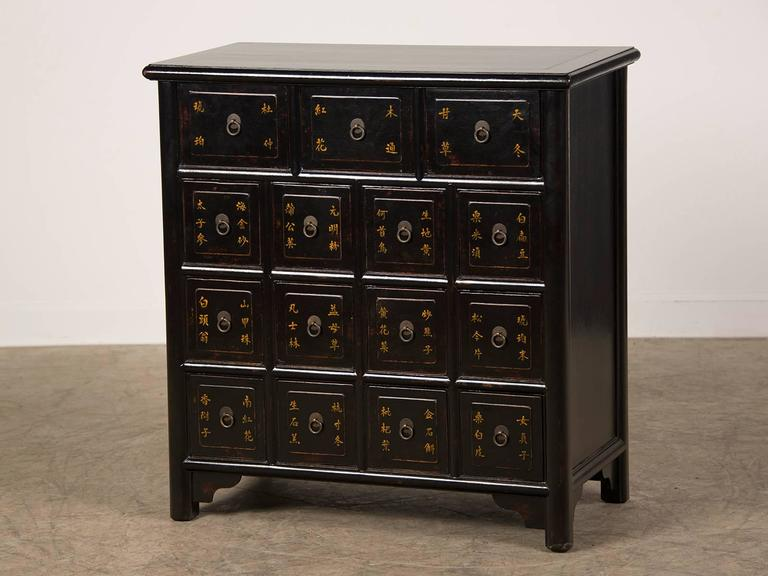 Antique style chinese lacquer apothecary chest gilt for Chinese furniture houston tx