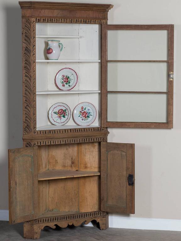 Georgian Style Antique English Oak Corner Cabinet Circa