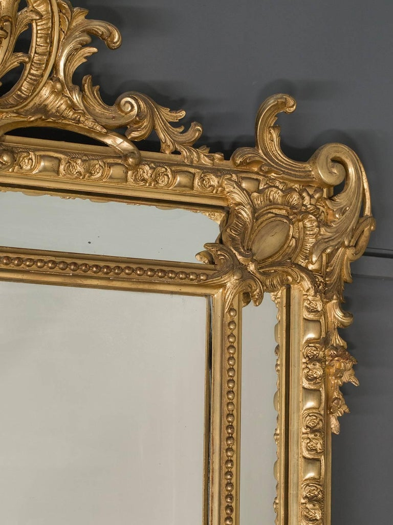 Antique French Gold Leaf Napoleon III Pareclose Mirror, circa 1875 For Sale 1
