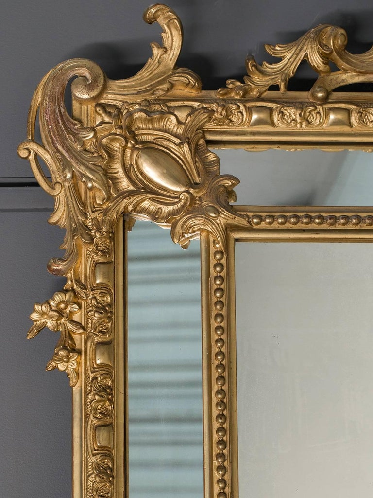 Antique French Gold Leaf Napoleon III Pareclose Mirror, circa 1875 In Excellent Condition For Sale In Houston, TX