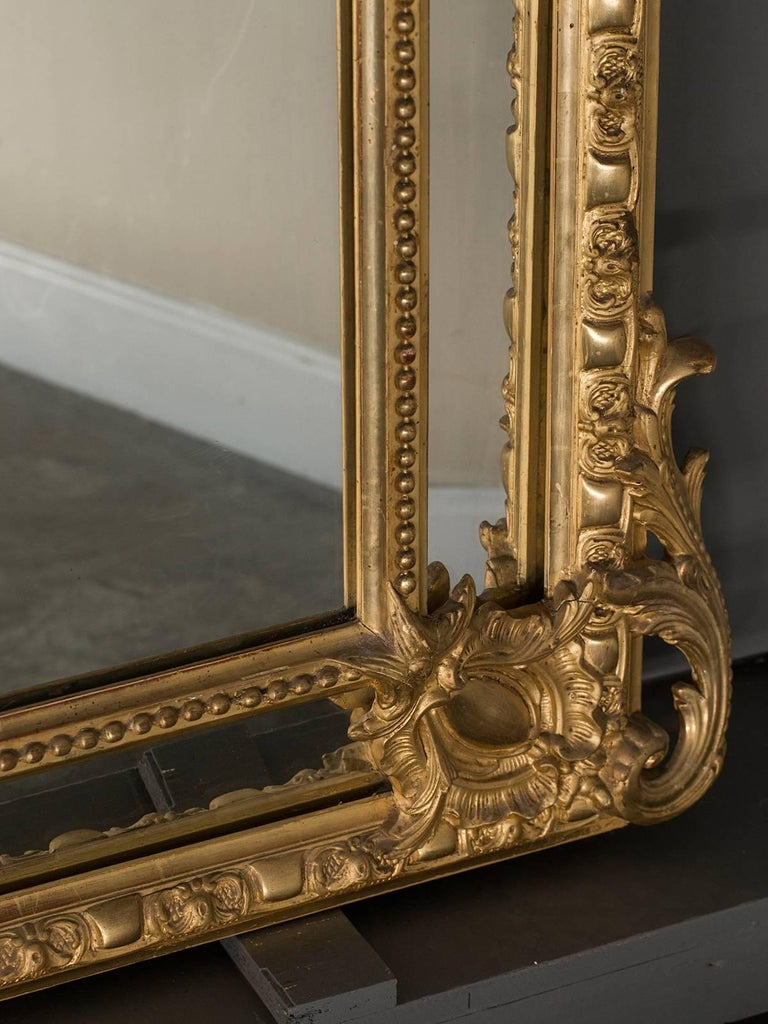 Antique French Gold Leaf Napoleon III Pareclose Mirror, circa 1875 For Sale 2