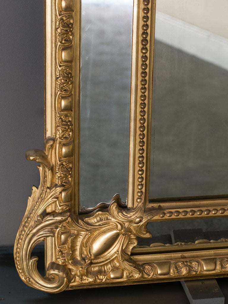 Late 19th Century Antique French Gold Leaf Napoleon III Pareclose Mirror, circa 1875 For Sale