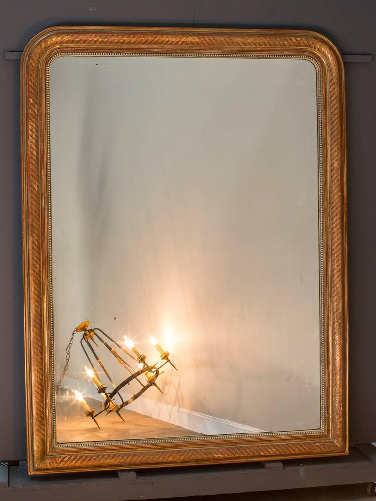 Large Louis Philippe Antique French Gold Leaf Mirror, circa 1880 In Excellent Condition For Sale In Houston, TX