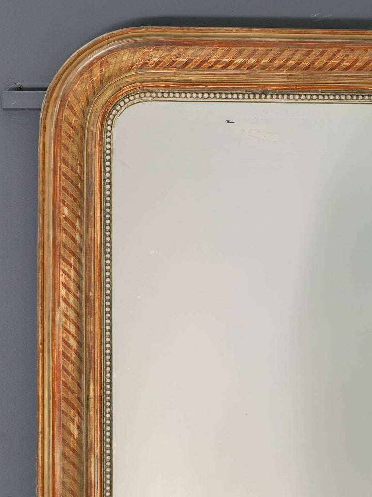 Late 19th Century Large Louis Philippe Antique French Gold Leaf Mirror, circa 1880 For Sale