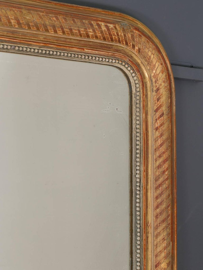Large Louis Philippe Antique French Gold Leaf Mirror, circa 1880 For Sale 3