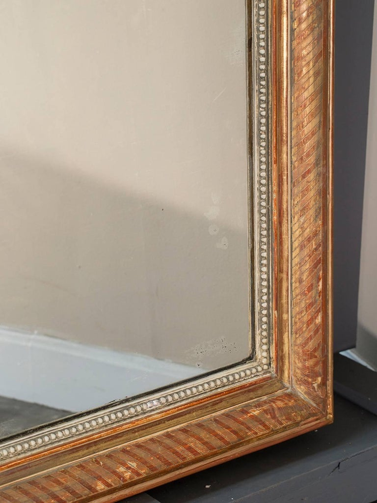 Large Louis Philippe Antique French Gold Leaf Mirror, circa 1880 For Sale 2