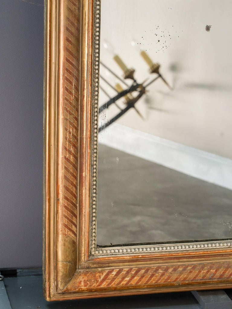 Large Louis Philippe Antique French Gold Leaf Mirror, circa 1880 For Sale 1