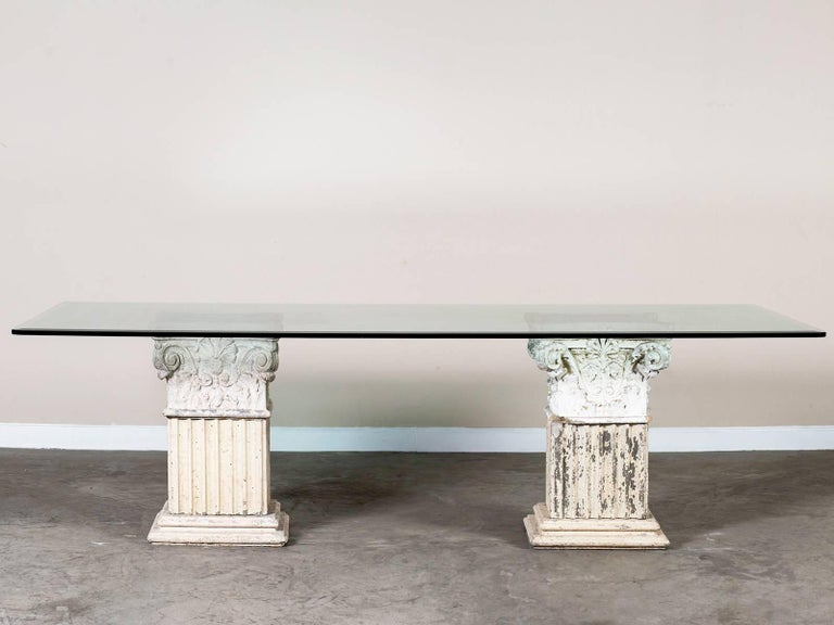 Vintage Italian Neoclassical Pedestal Cast Stone Table