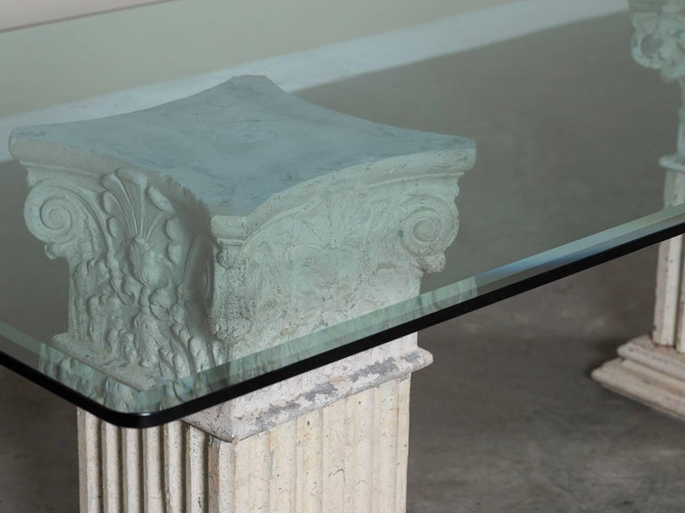 vintage italian neoclassical pedestal cast stone table dining table round glass top price dining table round glass top price