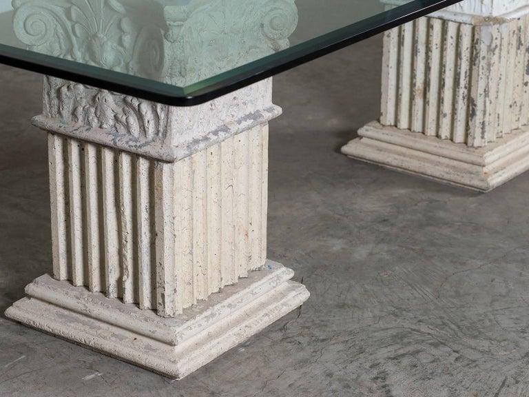 Stone Column Base : Vintage italian neoclassical pedestal cast stone table