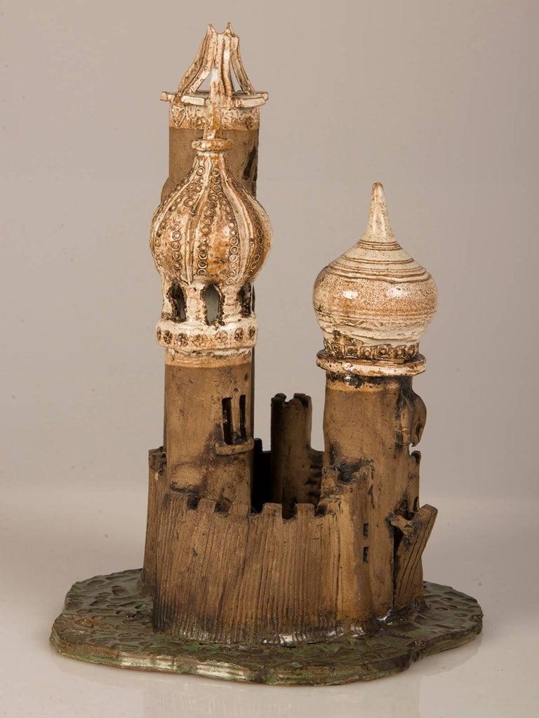 Vintage Polish Handmade Earthenware Fantasy Castle, circa 1950 8