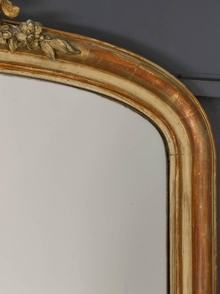 Carved Large Antique French Louis Philippe Mirror Régence Cartouche, circa 1885 For Sale