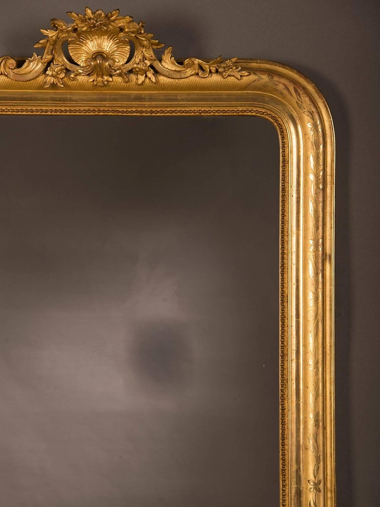 Large Antique French Louis Philippe Mirror Régence Cartouche, circa 1885 For Sale 2