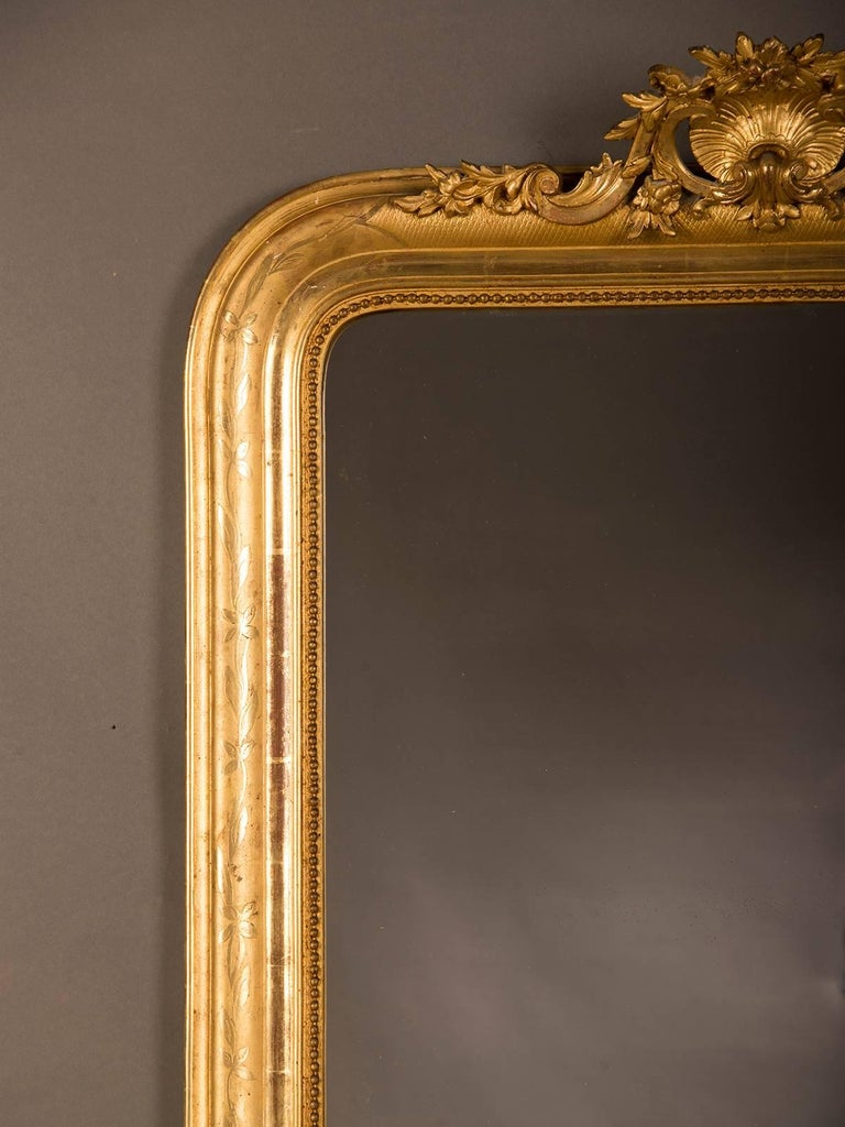 Large Antique French Louis Philippe Mirror Régence Cartouche, circa 1885 For Sale 3